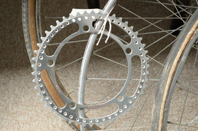 Lot 723 - Pair of bicycle wheels, and another wheel, and a 50 tooth chainring.
