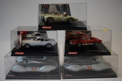 Lot 495 - Five cased Carrera slot cars