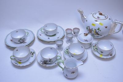 Lot 217 - Herend teapot, teacups and other items.