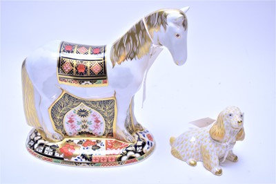 Lot 177 - Royal Crown Derby paperweight; and a Herend Spaniel