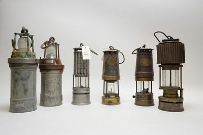 Lot 429 - Six vintage miners lamps