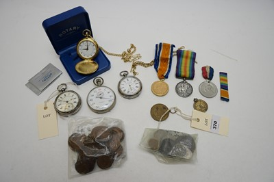 Lot 370 - Silver-cased pocket watches; stopwatch; other watches; and medals.
