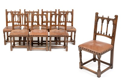 Lot 916 - N H Chapman - Harlequin set of eight oak dining chairs