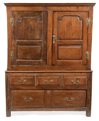 Lot 836 - George III oak press cupboard