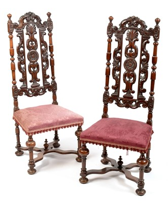 Lot 838 - Pair of Victorian high back chairs