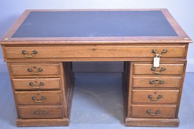 Lot 497 - Edwardian pedestal desk.