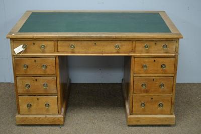 Lot 69 - Oak pedestal desk.