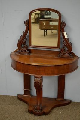 Lot 21 - Victorian mahogany semi-circular Duchess style dressing table.