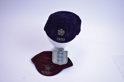 Lot 633 - Colin Veitch: two England Football Caps; and an England jersey badge.