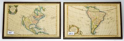 Lot 827 - After Gilles Robert de Vaugondy - maps of North and South America.