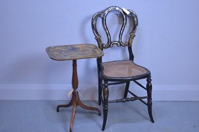 Lot 453 - Tripod table; and papier-mache chair.