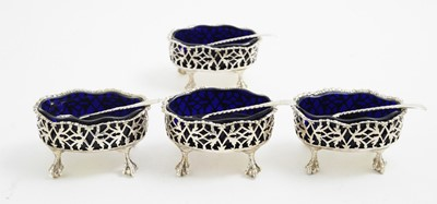 Lot 138 - Set of four silver table salts, by John Langford II & John Sebille