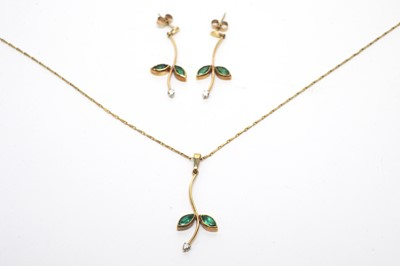 Lot 12 - Emerald and diamond pendant and earrings