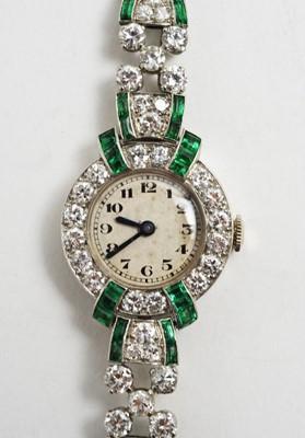 Lot 80 - Art Deco emerald and diamond dress watch