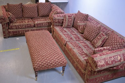 Lot 538 - Two modern sofas and a footstool