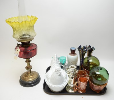Lot 415 - An oil lamp; a glass nesting hen terrine; and other glassware