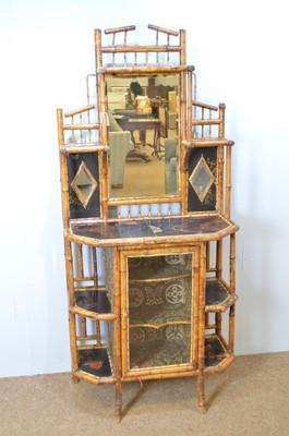 Lot 443 - Victorian bamboo mirror-back chiffonier.