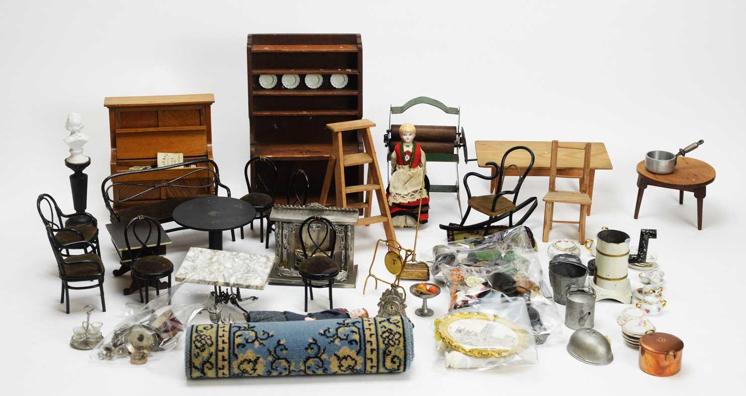 934 - A collection of antique and vintage dolls, furniture and other items.