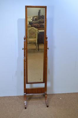 Lot 506 - Early 20th C mahogany cheval mirror.