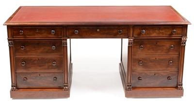Lot 831 - A Victorian mahogany pedestal writing desk.