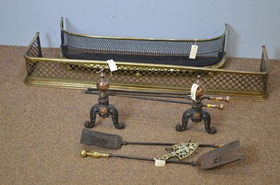 Lot 468 - Two Victorian fenders; and miscellaneous brass fireside implements.