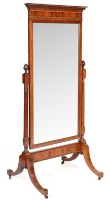 Lot 784 - Edwardian mahogany and rosewood banded cheval mirror