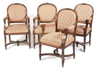 Lot 842 - Four Edwardian RMS Berengaria mahogany armchairs