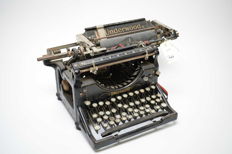 Lot 743 - A vintage Underwood office typewriter.