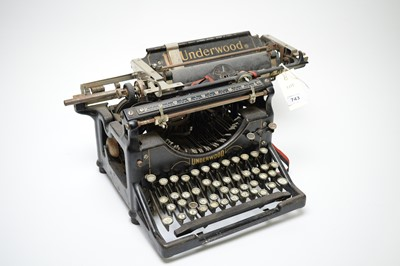 Lot 743 - A vintage Underwood office typewriter.