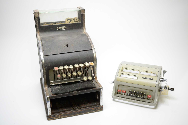 Lot 745 - A pre-decimal shop counter till; and a Facit office calculator.