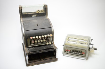 Lot 745 - A pre-decimal shop counter till; and a Facit office calculator.