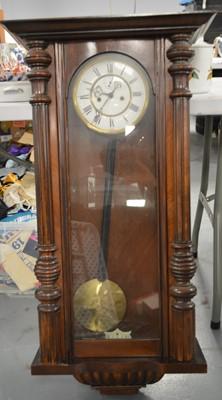 Lot 589 - An early 20th C Vienna wall clock.