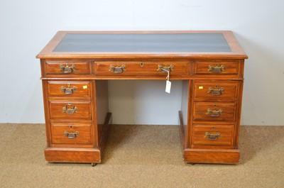 Lot 15 - Late Victorian walnut pedestal desk.
