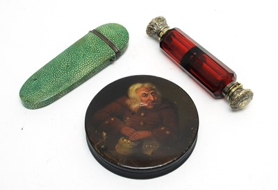 Lot 211 - Stobwasser-type box, glasses case and scent bottle.