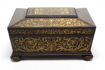 Lot 787 - A Regency brass inlaid rosewood work box.