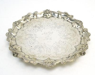 Lot 142 - A Victorian silver waiter.