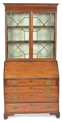 Lot 844 - George III mahogany bureau bookcase