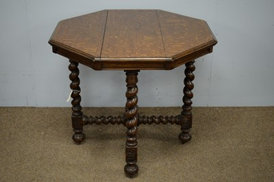 Lot 98 - Late Victorian octagonal oak centre table.