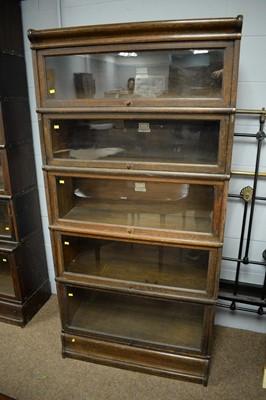 Lot 121 - Globe-Wernicke Co. early 20th C oak five-tier bookcase.