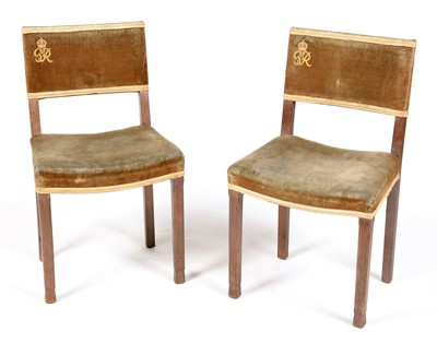 Lot 845 - W Hands & Sons - Pair of George VI coronation chairs