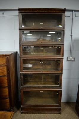 Lot 122 - Globe-Wernicke Co. early 20th C six-tier oak bookcase.