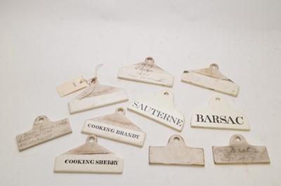 Lot 323 - 19th Century wine bin labels
