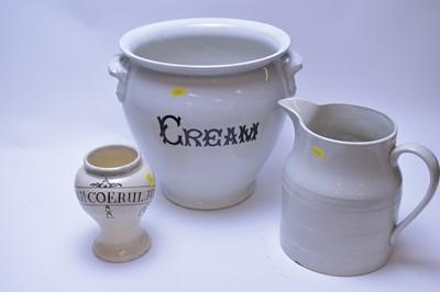 Lot 181 - Vintage cream pail; jug; and drug vase.