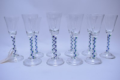 Lot 230 - Eight 18th C style wine glasses.