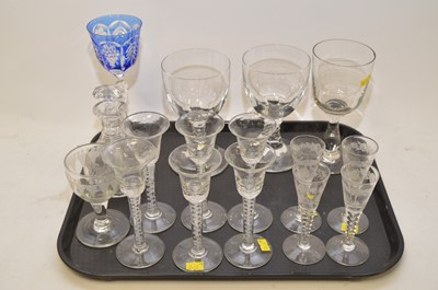 Lot 428 - Wine glasses and other glassware.