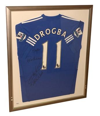 Lot 1232 - Signed Drogba football shirt.
