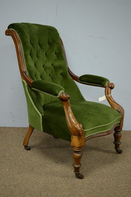 Lot 5 - Victorian button-back armchair.