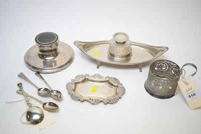 Lot 410 - Silver hallmarked inkwell, another; and other small silver items.