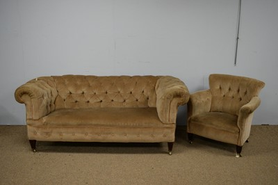 Lot 20 - Late Victorian Chesterfield style sofa; and a tub chair both by Sopwith