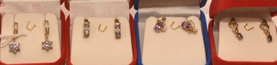 Lot 213 - Four pairs of gems set earrings